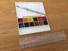 Winsor & Newton Artists Watercolour Pocket Box & Sable Metal Folding Brush, used