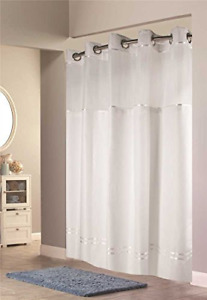 """Hookless Escape 54"""" x 80"""" Stall Fabric Shower Curtain and Liner Set in White"""
