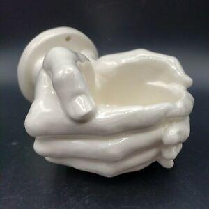 Nancy Funk Porcelain Cupped Hands Wall Mount Cup Holder Planter Funk Art Vintage