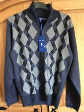 Mens New Wise Authentic Blue Zip Up Cardigan - New