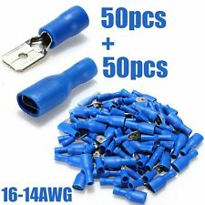 100pcs Fully Female&Male Spade Terminals Crimp Connector Blue 16-14AWG