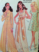 Vintage 1960s Exotic Mandarine Empire Evening Dress Coat Pattern 12 Partial Cut