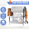 3 Tier 20'' Dish Drying Rack Drainer Stainless Steel Kitchen Organizer + Plate