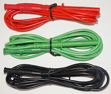 GENUINE FLUKE 3 TEST LEADS RED BLACK GREEN LOW LEAKAGE PROBES 1550B/1550C NEW!