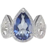 Blue Mystic Quartz Gemstone Pear Sterling Silver Ring size O