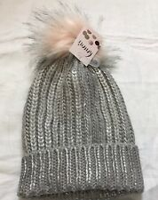 High Street Grey Silver Detail Chunky Knit Hat Faux Fur Pompom One Size (hs-3b)