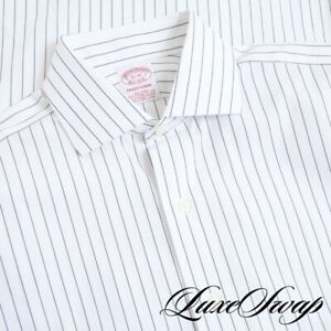 NWT Brooks Brothers Traditional Fit White Spread Collar Pinstripe Shirt 15 - 32