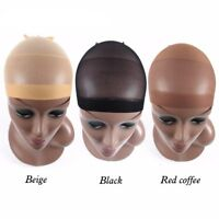 2pcs Unisex Wig Cap Wig Liner Wig Stocking Cap Black/Coffee/Beige Nylon Stretch