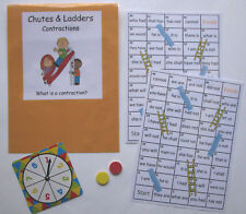 Teacher Made Literacy Center Resource Game Contractions Chutes & Ladders