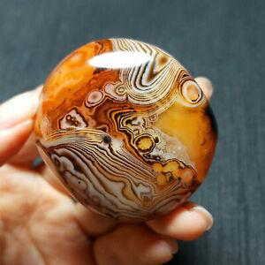 1* Natural Polished Silk Banded Lace Agate Crystal Sardonyx Carnelian Palm stone