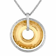 Crystaluxe Circle Pendant with Honey Swarovski Crystals in Sterling Silver