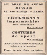 Z9159 DUGAS - Costumes de Sport -  Pubblicità d'epoca - 1929 Old advertising