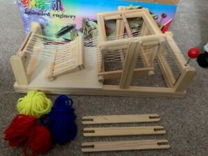 Pine Wood Weaving Looms, with Yarns and Shuttles, Bisque Ideal Gift