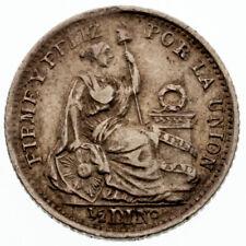 1904 Peru 1/2 Dinero Silver Coin KM #206.2 FFLIZ Error AU Condition