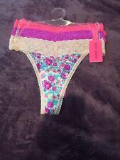 NWT Betsey Johnson 3 Pair Neon Pink Mesh Sheer Floral Purple Thong Panties Sexy