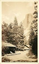 Dops Real Photo Postcard Camp Curry Bungalows Half Dome Yosemite Ca Unposted