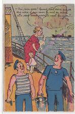 CPA HUMOUR Oui mon gars quand une mère qui va être mère à sur mer le mal de mer