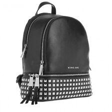 Michael Kors 100% RHEA Backpack Bag Silvertone Hardware Black Leather NEW & TAGS