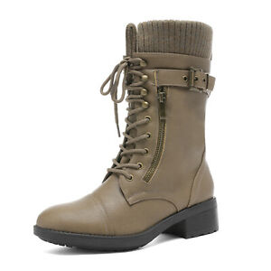 DREAM PAIRS Womens Winter Combat Boots Lace Up Mid Calf Warm Fur Lined Boots