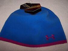 Under Armour INFRARED STORM Fleece Beanie Cap BLUE/PINK Women's O/S $30