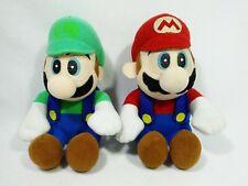 "Mario & Luigi Plush Doll Toy Vintage Bandai 1997 Japan Rare Sitting 6"""