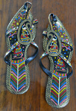 Vintage Leather Handmade Indian Asian Sandals Hand Painted Size 8