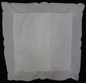 Vtg Paper White Embroidered Whitework Euro Sham Pillow Cover Ramie Cotton 25x25