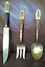 Siam Collectible Bronze Ware Spoon Knife and Fork Serving Set