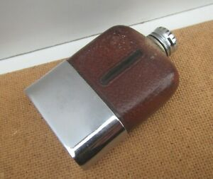 Vintage Small Glass Flask with Leather & Chrome Casing