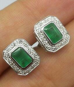 E119 Classic Genuine 9ct White Gold NATURAL Emerald & Diamond Stud Earrings