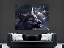 Cartel aterrador Lobo Dientes ojos hombre lobo fantasía arte cartel impresión de pared grande gigante