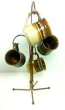 Vintage Cup Mug Tree Rack Set of Four Mugs Adjustable Stoneware