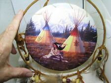 NOVELTY  DREAMCATCHER WITH WOLF AND WOMEN  N TEEPEES 8 INCH