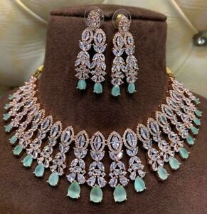 Bollywood Style Indian CZ AD Rose Gold Fashion Jewelry Choker Necklace Set