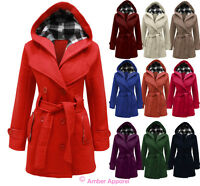 Fleece Jacke Damen Mit Kapuze Gürtel Damen Mantel Top Größen 36-48 Neu
