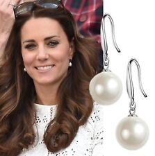 Wedding Pearl Drop Dangle Earrings Duchess of Cambridge Droplet Mother Pearl