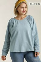 Umgee Blue French Terry Knit Top with Gold Foil Star Detail Plus Size XL 1XL 2XL