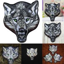 Animal wolf head iron on patches Sew-on embroidered patch motif applique CAHF