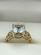 10K Yellow Gold Round Aquamarine Ring size 9