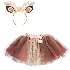 Kids Girls Fawn Tutu Costume Kit Little Reindeer Childs Fancy Dress Animal Book