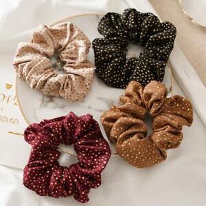 Golden Spots Print Cotton Scrunchies Ladies Girls Hair Accessories Bobbles G5L2
