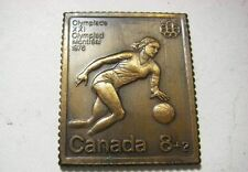1976 OLYMPIC GAMES MONTREAL CANADA Canada Post Bronze Stamp Bar BASKETBALL Nice!