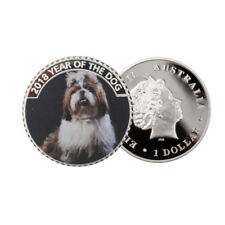 999.9 Silver Plated Metal Coin Home Decorative Cute Puppy Gift Coins Art Crafts