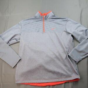 Nike Golf Tour Performance Mens XL 1/4 Zip Pullover Grey Orange Light Fleece