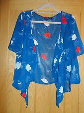 Primark Blue Patterned Sheer Waterfall Cardigan Top - Size 12