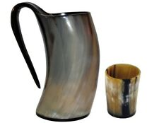 Original Viking Drinking Horn Tankard With Horn Shot Glass Authentic Horn Mug