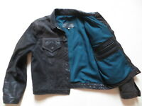 Herren Biker Jacke Lederjacke Gr. M, schwarz ! Echt-Leder Jeansjacke, Vintage !