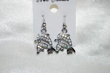 Twin Dolphin Porpoise Drop Earrings Ocean Ab Crystals Fish Silver Free Shipping