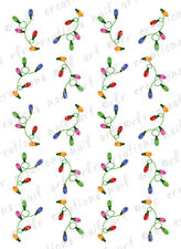20 CHRISTMAS NAIL DECALS  *CHRISTMAS LIGHT STRINGS *  WATER SLIDE NAIL DECALS