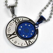 Collana per coppia Bussola Orologio Numeri Acciaio inox 2 Ciondolo + 2 BLU NUOVO